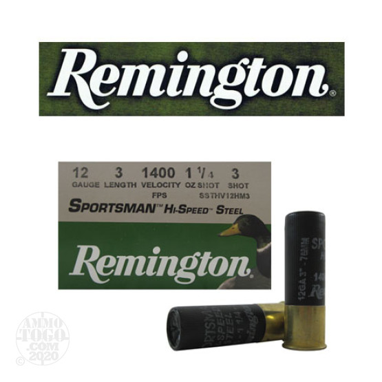 "25rds - 12 Gauge Remington Sportsman Hi-Speed Steel 3"" 1 1/4oz. #3 Shot Ammo"