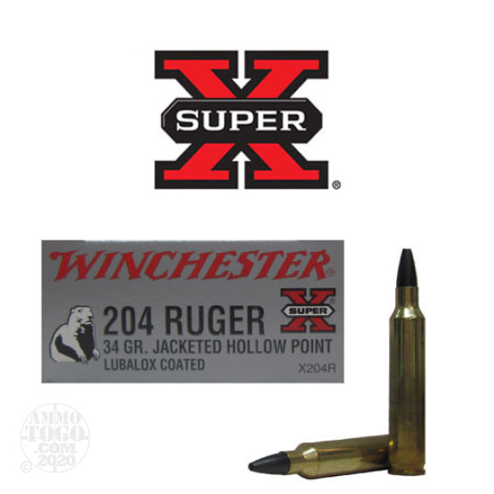 20rds - 204 Ruger Winchester 34gr. Jacketed Hollow Point Ammo
