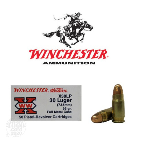 50rds - 30 Luger (7.65mm) Winchester Western 93gr. Full Metal Case