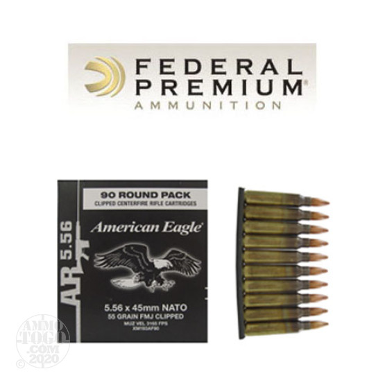 90rds - 5.56 Federal American Eagle XM193 55gr. FMJ Ammo on Stripper Clips