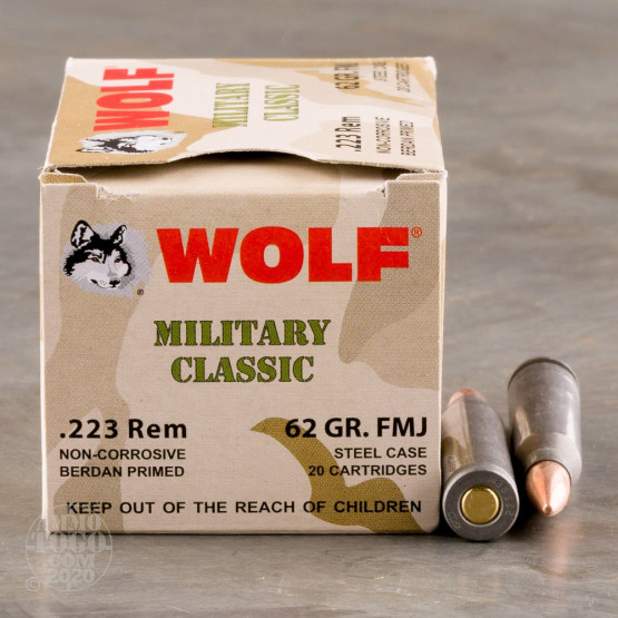 500rds - 223 Wolf WPA Military Classic 62gr. FMJ Ammo