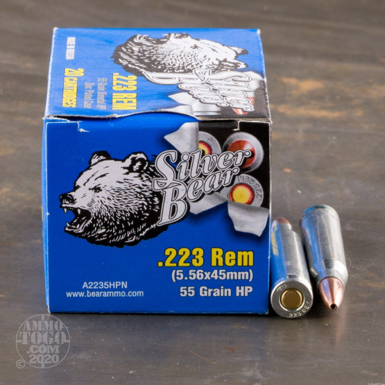 500rds - .223 Silver Bear 55gr. Hollow Point Ammo