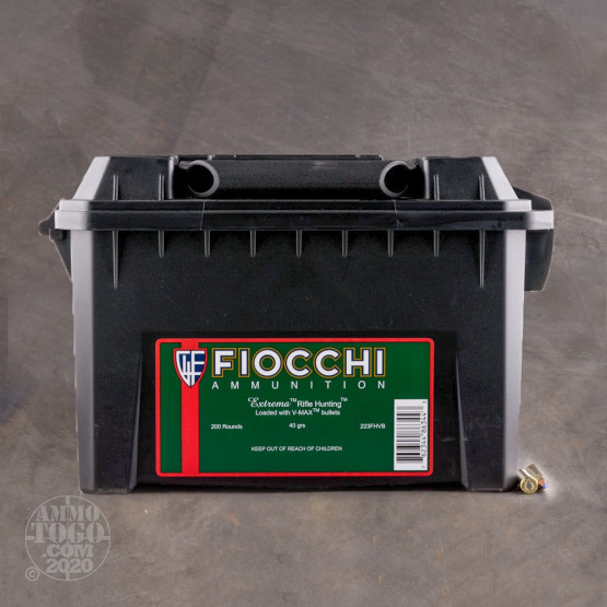 200rds - 223 Fiocchi 40gr. V-Max Polymer Tip Ammo (In Ammo Can)