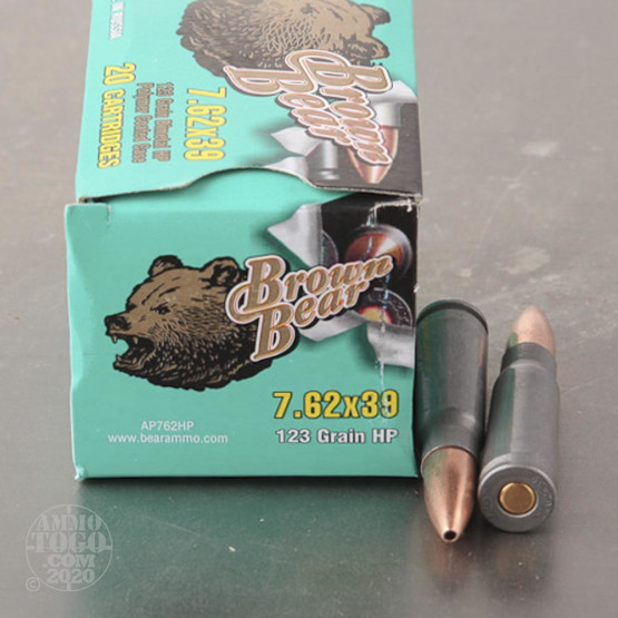 20rds - 7.62x39 Brown Bear 123gr. Polymer Hollow Point Ammo