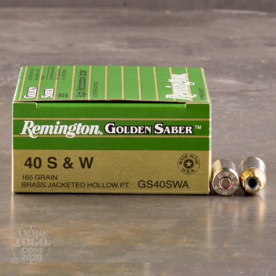 25rds - 40 S&W Remington Golden Saber 165gr. HP Ammo