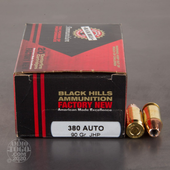 20rds - 380 Auto Black Hills 90gr. Jacketed Hollow Point Ammo