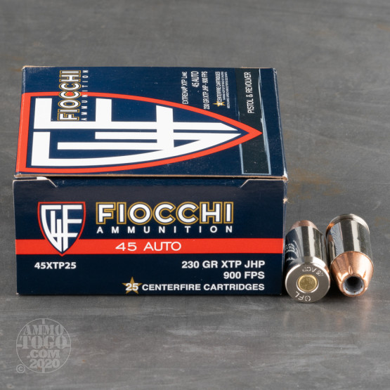 25rds - 45 ACP Fiocchi 230gr. XTP Hollow Point Ammo