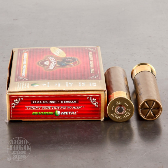 "5rds - 12 Gauge Hevi-Shot Hevi-13 Turkey 3 1/2""  2 1/4oz. #6 Shot Ammo"