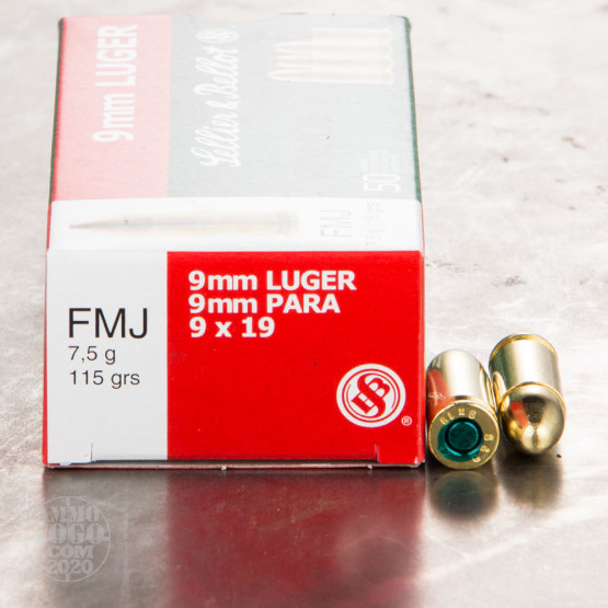 50rds - 9mm Sellier & Bellot POLICE 115gr. FMJ Ammo