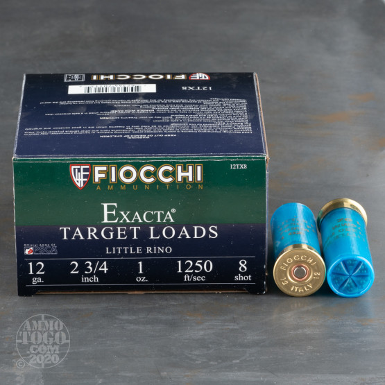 "250rds - 12 Gauge Fiocchi Little Rino 2 3/4"" 1oz. #8 Shot Ammo"