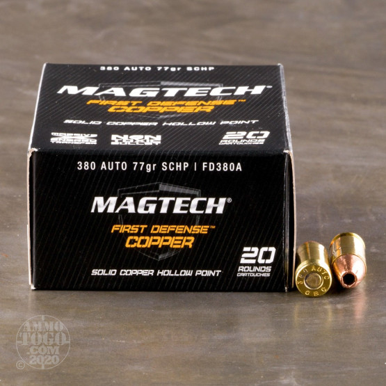 20rds - .380 Auto MAGTECH 77gr. First Defense Solid Copper HP Ammo