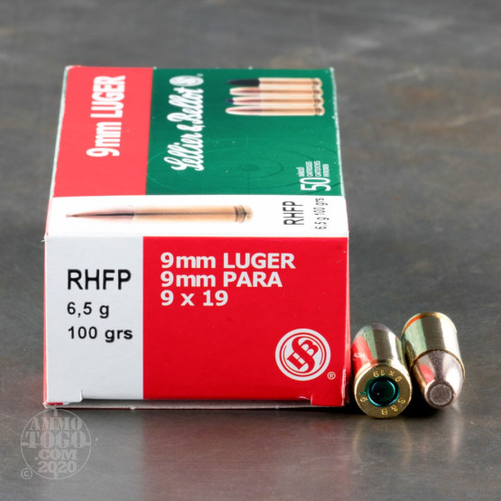 50rds - 9mm Sellier & Bellot 100gr. Frangible RHFP Ammo