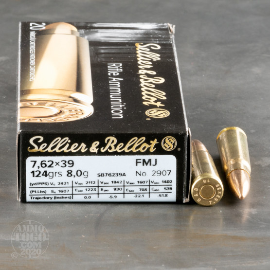 20rds - 7.62x39 Sellier & Bellot 123gr. FMJ Ammo
