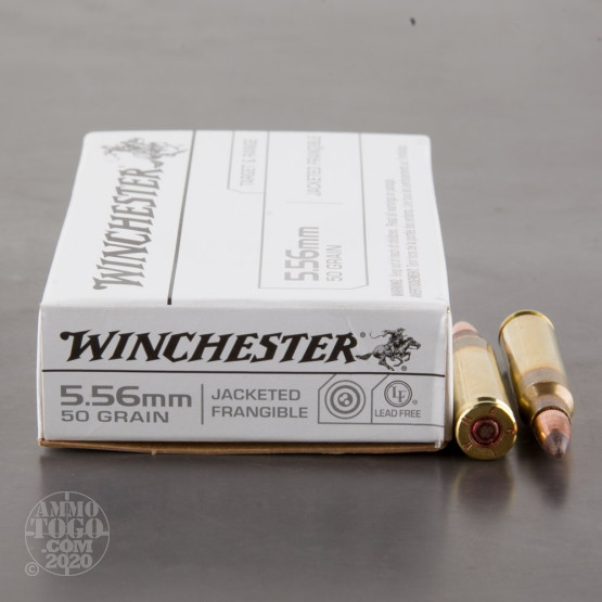 20rds – 5.56x45 Winchester 50gr. Jacketed Frangible Ammo