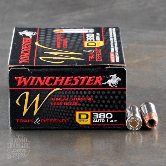 20rds - 380 Auto Winchester W Train and Defend 95gr. JHP Ammo