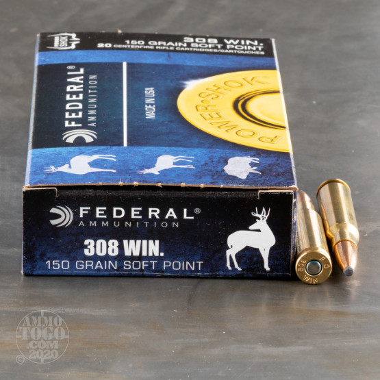 20rds - 308 Win. Federal Power-Shok 150gr. Soft Point Ammo