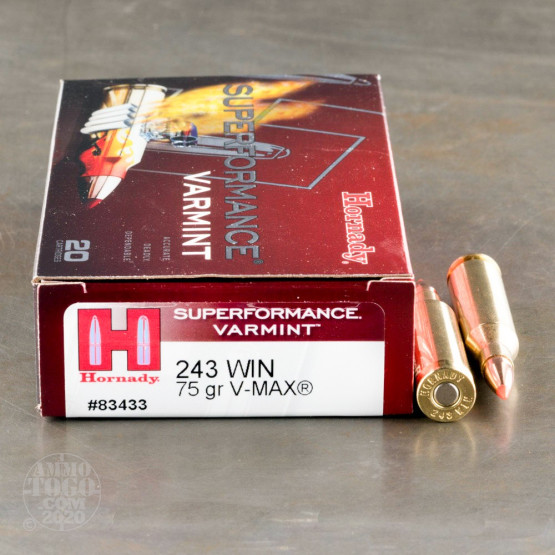 20rds - 243 Win Hornady Superformance Varmint 75gr. V-Max Ammo