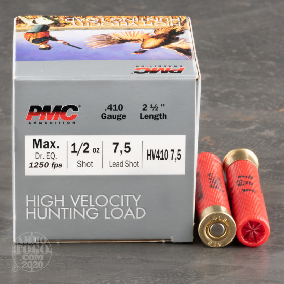 """250rds – 410 Gauge PMC High Velocity Hunting Load 2-1/2"""" 1/2oz. #7.5 Shot Ammo"""