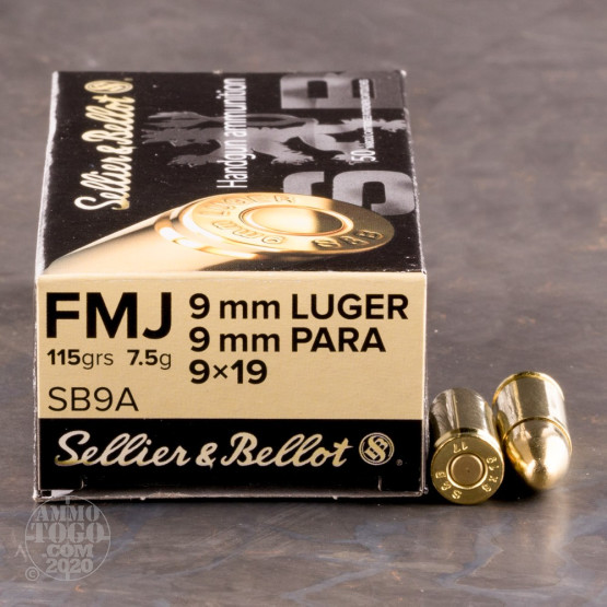 1000rds - 9mm Sellier & Bellot 115gr. FMJ Ammo