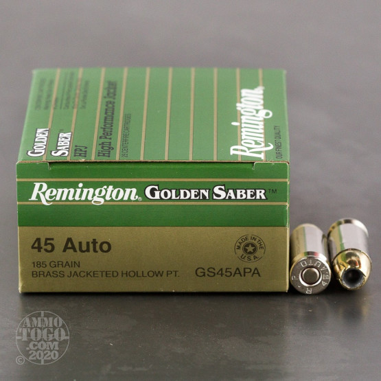 25rds - 45 ACP Remington Golden Saber 185gr. HP Ammo
