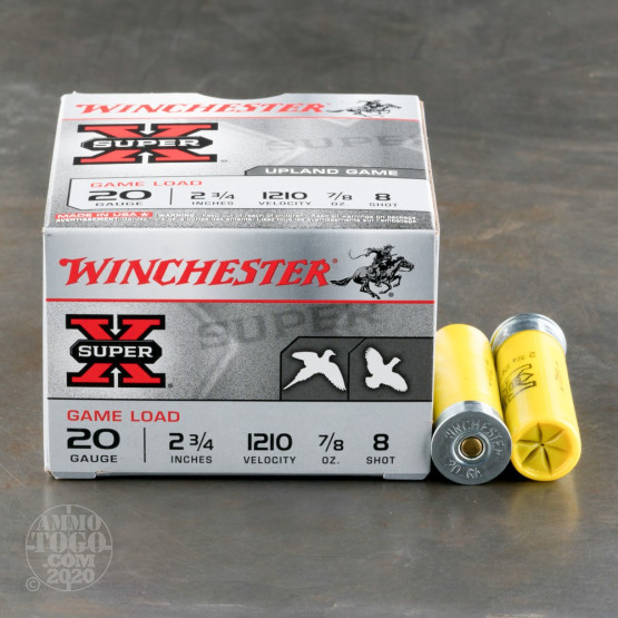 "250rds - 20 Gauge Winchester Super-X Game Load 2 3/4"" 7/8oz. #8 Shot Ammo"
