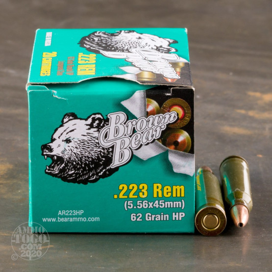 20rds - 223 Rem Brown Bear 62gr. HP Ammo