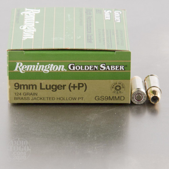 500rds - 9mm Luger Remington Golden Saber +P 124gr. JHP Ammo