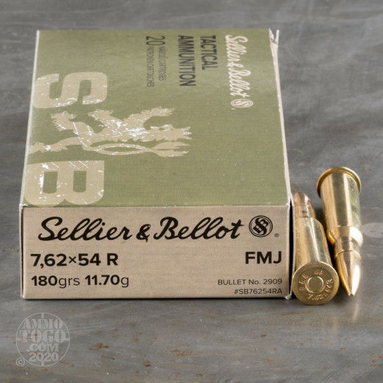 20rds - 7.62 x 54R Sellier & Bellot 180gr. FMJ Ammo