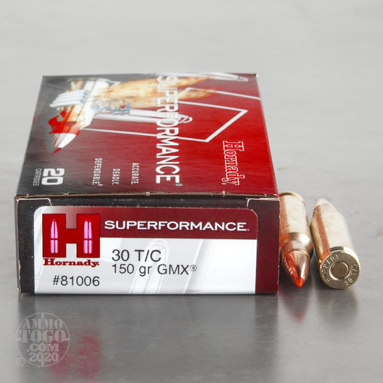 20rds – 30 Thompson Center Hornady Superformance 150gr. GMX Ammo