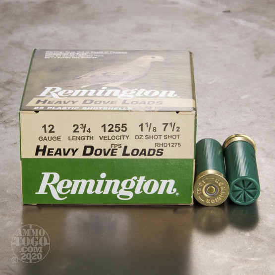 "250rds - 12 Gauge Remington Heavy Dove Loads 2 3/4"" 1 1/8oz. #7 1/2 Shot Ammo"