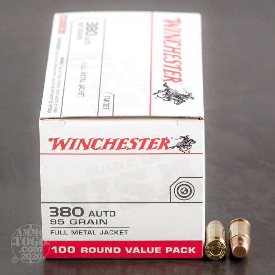 100rds - .380 Auto Winchester USA 95gr. FMJ Value Pack Ammo