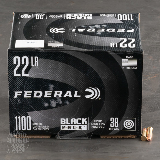 1100rds – 22 LR Federal Black Pack 38gr. CPHP Ammo