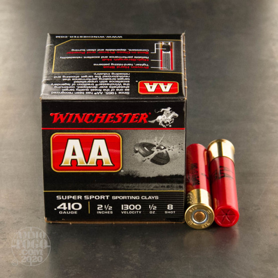 """25rds - 410 Bore Winchester AA Sporting Clays 2-1/2"""" 1/2 Ounce #8 Shot Ammo"""