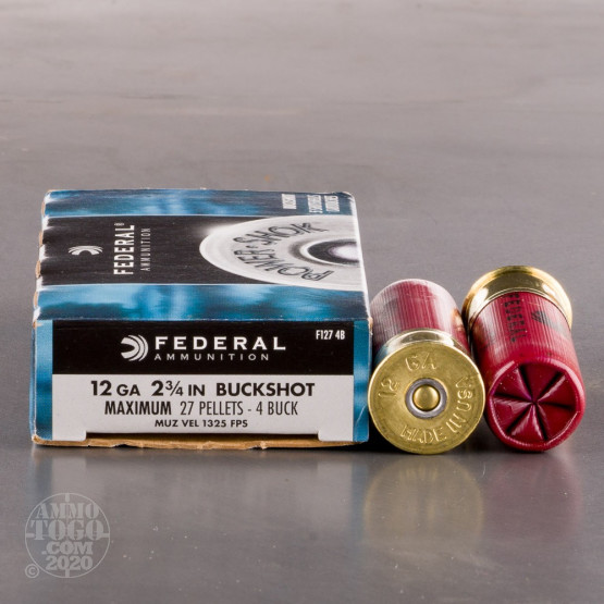 "5rds - 12 Ga. Federal Power Shok 2 3/4"" 27 Pellet  #4  Buck"
