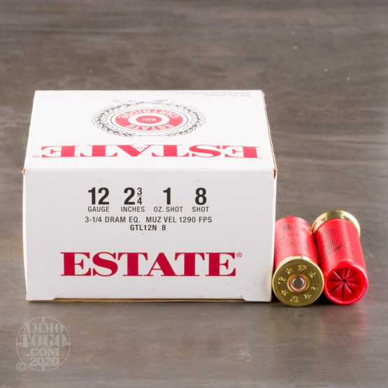 "250rds - 12 Gauge Estate 2 3/4"" 3 1/4 Dram 1oz. #8 Shot Ammo"