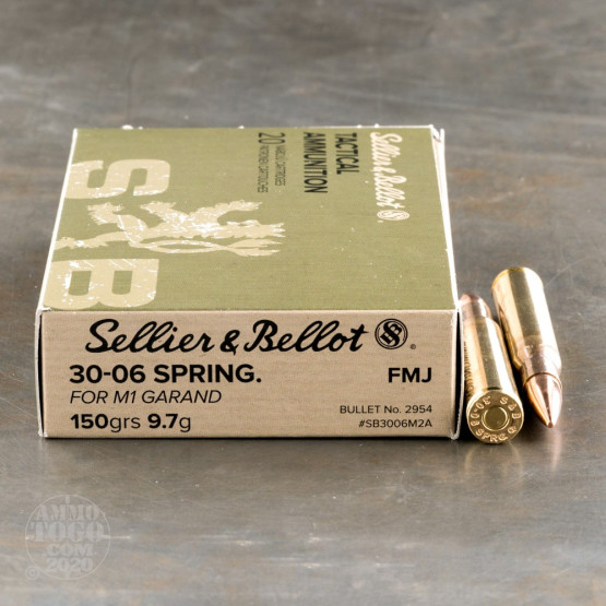 20rds - 30-06 Sprg Sellier & Bellot 150gr. M2 Ball FMJ Ammo