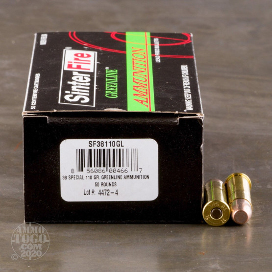 50rds - 38 Special SinterFire Greenline 110gr. Frangible Ammo