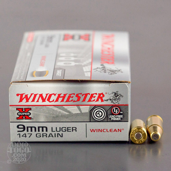 50rds – 9mm Winchester WinClean 147gr. Brass Enclosed Base (BEB)