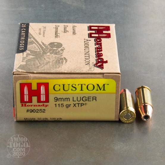 25rds - 9mm Hornady Custom 115gr. XTP HP Ammo
