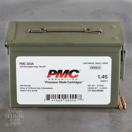 840rds – 223 PMC on Stripper Clips in Steel Can 55gr. FMJ-BT Ammo