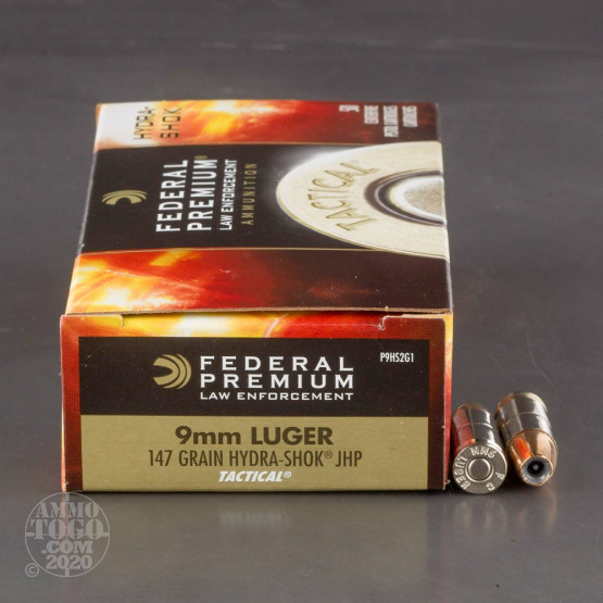 50rds - 9mm Federal LE Tactical Hydra-Shok 147gr. HP Ammo