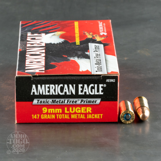 50rds – 9mm Federal American Eagle Indoor Range Training 147gr. TMJ Ammo