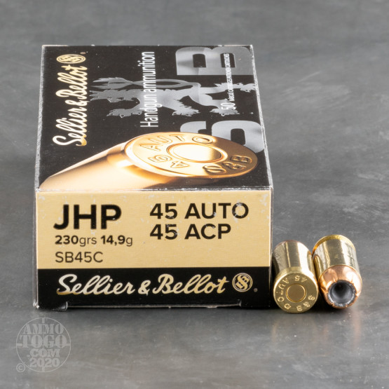 1000rds – 45 ACP Sellier & Bellot 230gr. JHP Ammo