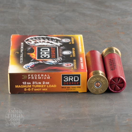 """5rds - 12 Gauge Federal 3rd Degree 2 Ounce 3 1/2"""" #5/6/7 Shot Ammo"""