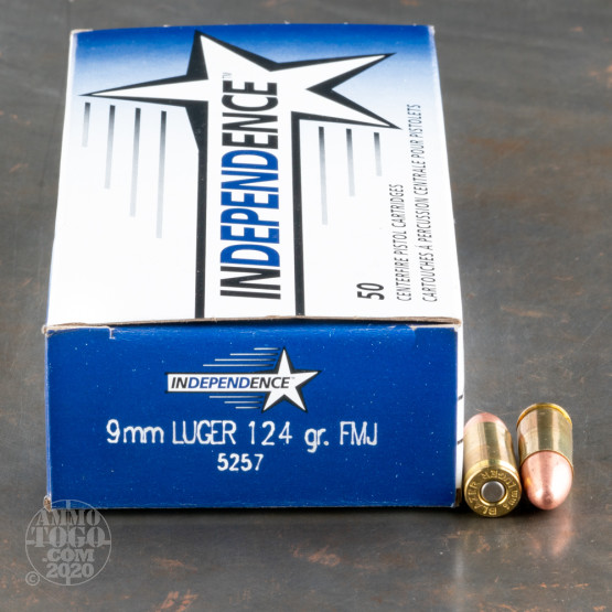 500rds - 9mm Independence 124gr. FMJ Ammo