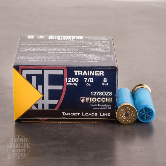 "25rds - 12 Gauge Fiocchi Low Recoil Target Load 2 3/4"" 7/8 Ounce #8 Shot Ammo"