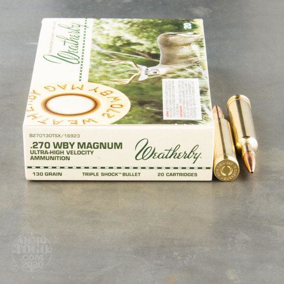 20rds - 270 Weatherby Mag. 130gr. Barnes TSX Hollow Point Ammo