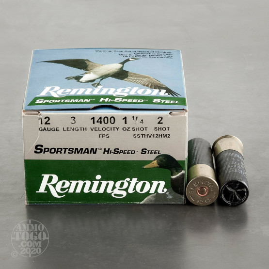 "250rds - 12 Gauge Remington Sportsman Hi-Speed Steel 3"" 1 1/4oz. #2 Shot Ammo"