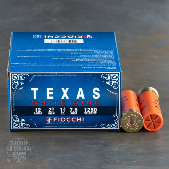 """250rds - 12 Gauge Fiocchi Texas White Wing 2-3/4"""" 1-1/8 Ounce #7.5 Shot Ammo"""