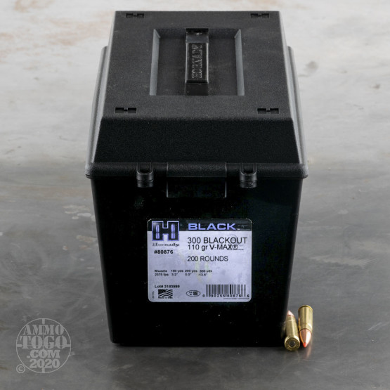 200rds – 300 AAC Blackout Hornady BLACK 110gr. V-MAX Ammo in Field Box